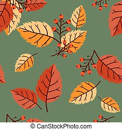 vecteur, modèle, feuilles, seamless, berries., floral,...