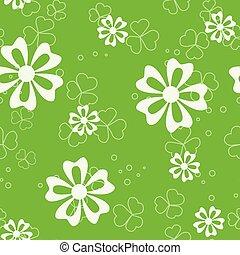 vecteur, modèle, flore, vert, seamless