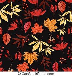 vecteur, modèle, gland, feuilles, seamless, flower., baies,...
