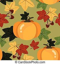 vecteur, modèle, gland, feuilles, seamless, pumpkin.,...