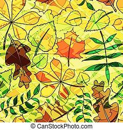 vecteur, modèle, leaves., illustration., seamless