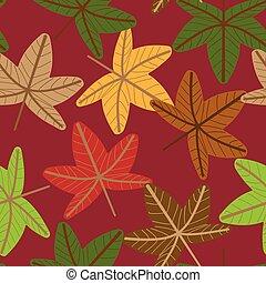 vecteur, modèle, leaves., seamless, floral, automne