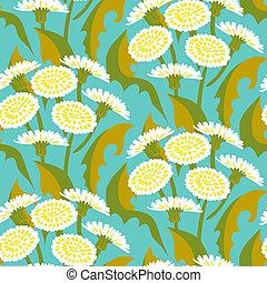 vecteur, modèle, pissenlits, floral, seamless