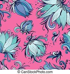 vecteur, modèle, rose, bleu, lotus