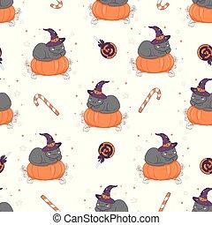 vecteur, modèle, seamless, pumpkin., halloween, chat