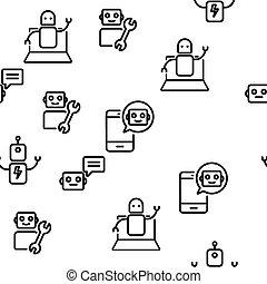 vecteur, modèle, seamless, technologie, robot, élevé