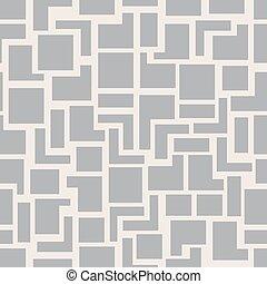 vecteur, mode, géométrie, modèle, résumé, moderne, seamless, gris, carrés, fond, conception, retro, monochrome, hipster, géométrique, texture