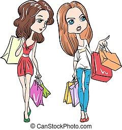vecteur, mode, mignon, filles