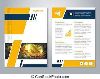 vecteur, moderne, brochure, à, bleu, jaune, conception