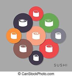 vecteur, moderne, coloré, sushi, icônes