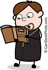 vecteur, -, moine, illustration, livre, prêtre, lecture, dessin animé
