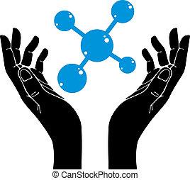 vecteur, molécule, symbole., mains