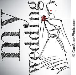 vecteur, mon, wedding., illustration