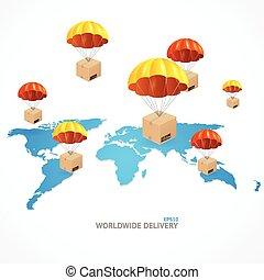 vecteur, mondiale, concept, autour de, expédition