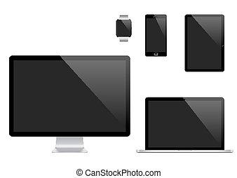 vecteur, moniteur, ensemble, tablette, mobile, moderne, montre, ordinateur portable, téléphone, informatique, pc, numérique, devices., intelligent