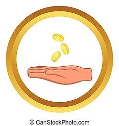 vecteur, monnaies tombantes, icône, main