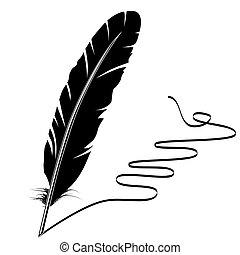 vecteur, monochrome, écriture, vieux, plume, et, fleurir