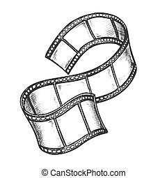 vecteur, monochrome, bande film, projecteur, cinéma
