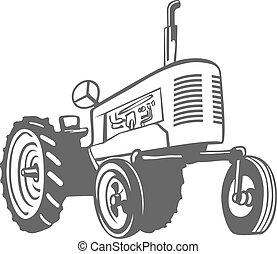 vecteur, monochrome, design., tracteur ferme
