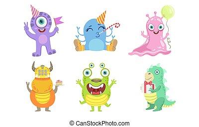 vecteur, monstres, rigolote, caractères, coloré, ensemble, amical, illustration, mutant, mignon