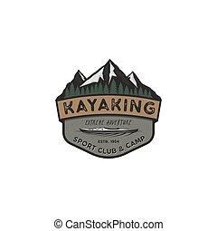 vecteur, montagne, désert, explorateur, camping, vendange, autocollant, kayaking, stockage, aventure, badge., extérieur, hipster, forêt, label., emblem., logo, insignia., voyage, template., design.
