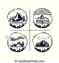 vecteur, montagne, ensemble, camping., logo, extérieur, arrière-plan., arbre., aventure, animal, monochrome, wildlife., blanc, design.