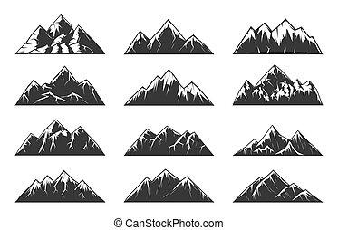 vecteur, montagne, neigeux, rocheux, crêtes, chaîne, collines