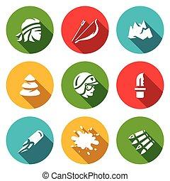 vecteur, montagnes, ensemble, compte, bullet., survie, arc, flic, arbre, flèche, icons., sanguine, couteau, criminel, sommet, forêt