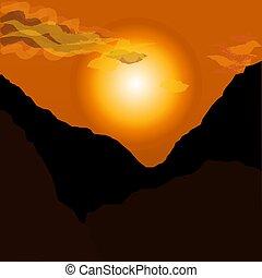 vecteur, montagnes, paysage., sur, coucher soleil