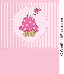 vecteur, morceau, gâteau, illustration, petit gâteau