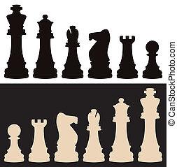 vecteur, morceaux échecs