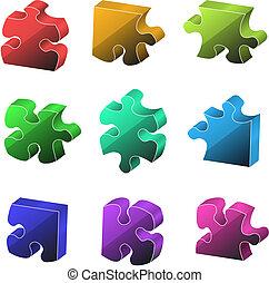 vecteur, morceaux, illustration., puzzle.