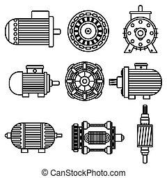 vecteur, moteur électrique, icônes