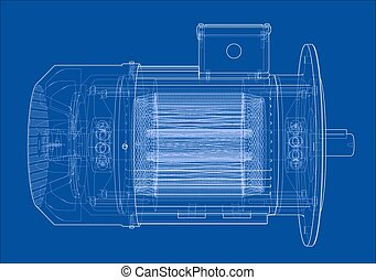 vecteur, moteur électrique, sketch.