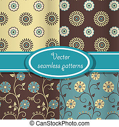 vecteur, motifs, ensemble, floral, vendange