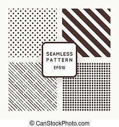 vecteur, motifs, géométrique, ensemble, seamless