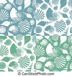 vecteur, motifs, shells., ensemble