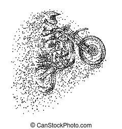 vecteur, motocross, particule, illustration
