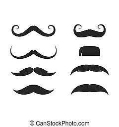 vecteur, moustache, icône, ensemble