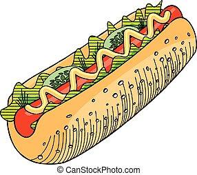 vecteur, moutarde, illustration, hot-dog, -