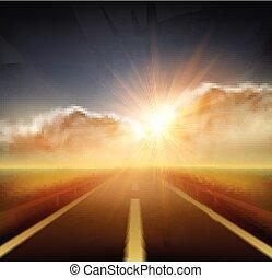 vecteur, mouvement, clouds., ciel, route, bleu, brouillé, illustration