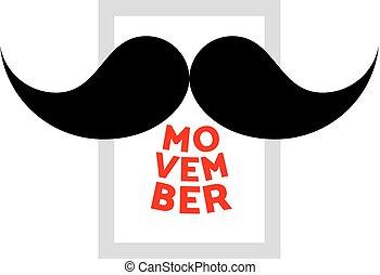 vecteur, movember., moustache, icône