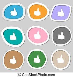 vecteur, multicolore, papier, icône, haut, pouce, stickers., symbols., aimer