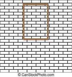 vecteur, mur, brique, cadre, illustration.