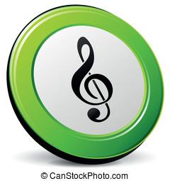vecteur, musique, 3d, icône