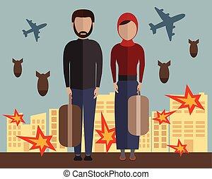 vecteur, musulman, wife., syria., emigrants., mari, guerre civile, family., gens., illustration, réfugié
