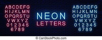 vecteur, néon, font.