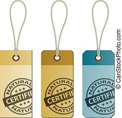 vecteur, naturel, carton, étiquettes