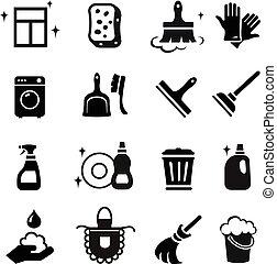 vecteur, nettoyage, icônes, ensemble