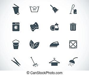 vecteur, nettoyage, noir, ensemble, icônes